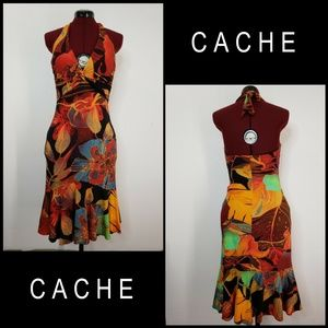 Cache Woman Backless Halter Mermaid Dress Size 8